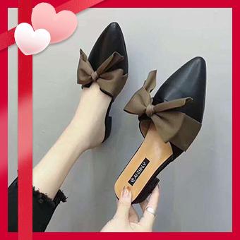 Sendo-Giày Sục Đen Nơ Nâu_VD1